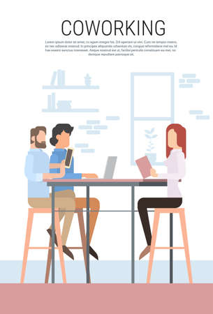 campus: Creative Office Co-working Center People Sitting Desk Working Together, Students University Campus Flat Vector Illustration