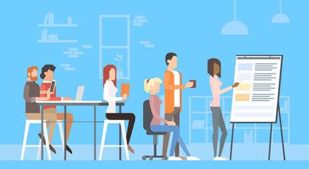 Kreative Büro-Co-Working-Center-Leute, die Schreibtisch-Funktionsdarstellung Flip Chart, Studenten, die Hochschulcampus-flache Vektor-Illustration ausbilden Vektorgrafik