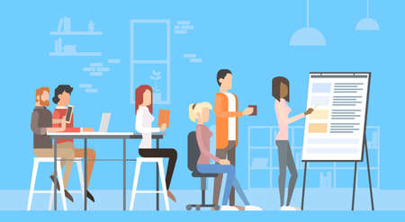 Creative Office Co-working Center People Sitting Desk Working Presentation Flip Chart, Students Training University Campus Flat Vector Illustration