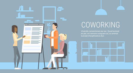 university campus: Creative Office Co-working Center People Sitting Desk Working Presentation Flip Chart, Students Training University Campus Flat Vector Illustration