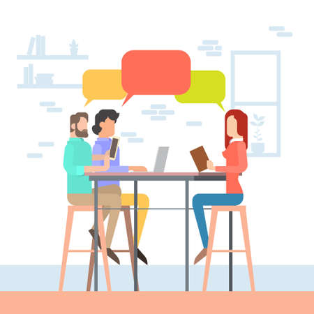 university campus: Creative Office Co-working Center People Sitting Desk Working Together, Students Chat Bubble University Campus Flat Vector Illustration