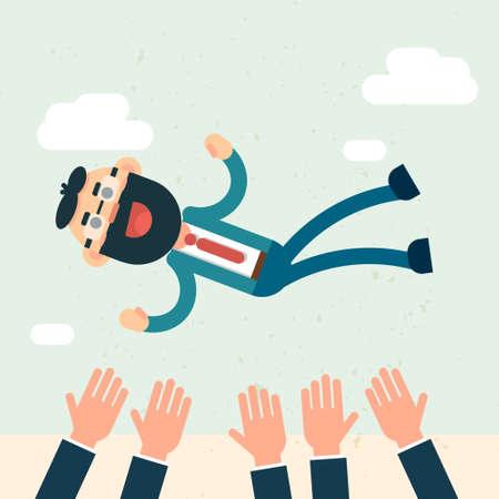 throw up: Happy Business People Team Hands Throw Boss Up Success Flat Vector Illustration