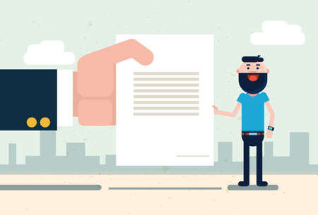worker working: Business Man Hand Hold Document, Candidate Resume Flat Vector Illustration