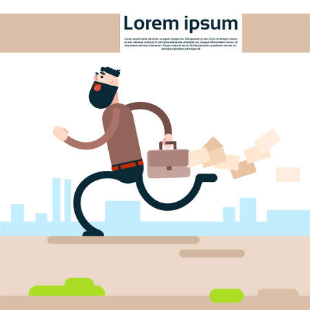 Business Man Run Holding Briefcase Losing Paper Documents Flat Vector Illustration