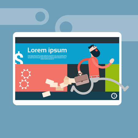 losing: Business Man Run From Cell Smart Phone Holding Briefcase Losing Paper Documents Flat Vector Illustration Illustration