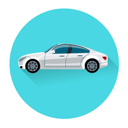 car side view: Car Side View Icon Flat Vector Illustration