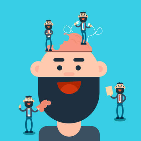 Business Man Thinking New Creative Ideas Brainstorming Concept Flat Vector Illustration