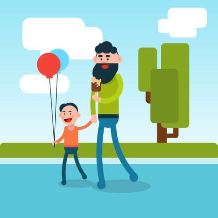 hold hands: Father Walking With Son Hold Hands Outdoors Background Flat Vector Illustration