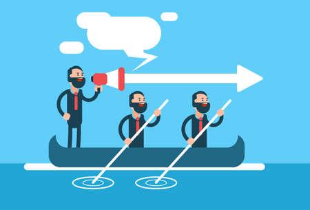 Geschäftsmann Gruppe-Team im Boot Teamwork Führungkonzept Wohnung Vector Illustration
