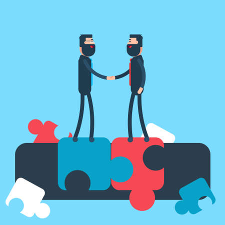 hombres ejecutivos: El hombre de negocios de la sacudida de la mano Acuerdo rompecabezas concepto de fondo ilustración vectorial Flat