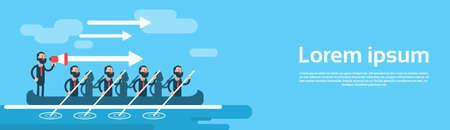 Business Man Group Team In Boat Teamwork Leadership Concept Flat Vector Illustration