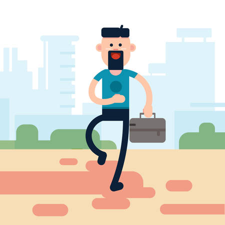 hold: Casual Business Man Hold Briefcase City Background Flat Vector Illustration