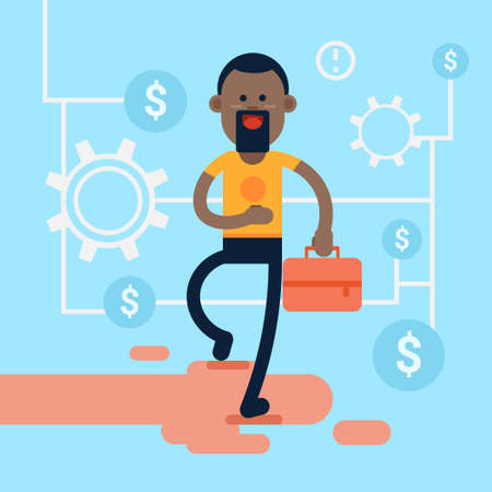 casual business man: African America Casual Business Man Hold Briefcase Background Financial Success Flat Vector Illustration Illustration