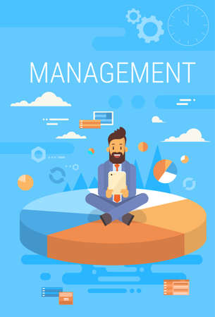 computer network diagram: Business Man Manager With Tablet Computer Management Concept Flat Vector Illustration Illustration