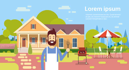 patio furniture: Summer Picnic Man Cooking Outdoors House Barbecue Grill Party Flat Vector Illustration Illustration