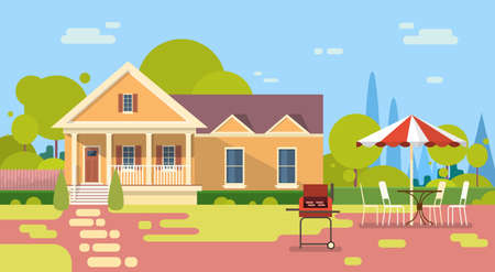 Summer Picnic Outdoors House Barbecue Grill Party Flat Vector Illustration