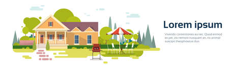 patio chair: Summer Picnic Outdoors House Barbecue Grill Party Flat Vector Illustration
