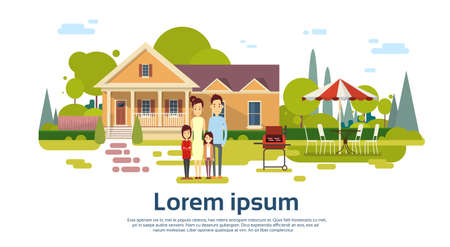 summer picnic: Famy Parents With Two Children Summer Picnic Outdoors House Barbecue Grill Party Flat Vector Illustration