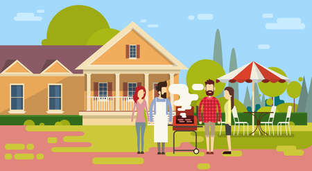 summer picnic: Summer Picnic Friends Group Outdoors House Barbecue Grill Party Flat Vector Illustration