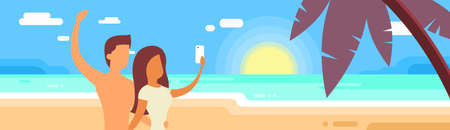 couple in summer: Couple On Summer Vacation Make Selfie Photo Holiday Tropical Ocean Island Flat Vector Illustration