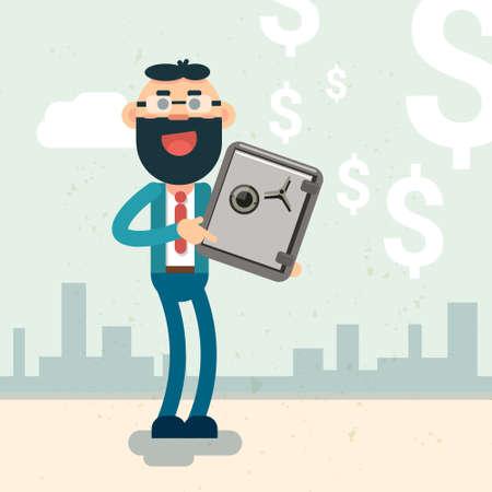 Business Man Hold Safe Money Security Concept Flat Vector Illustration