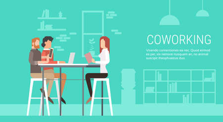 university campus: Creative Office Co-working Center People Sitting Desk Working Together, Students University Campus Flat Vector Illustration
