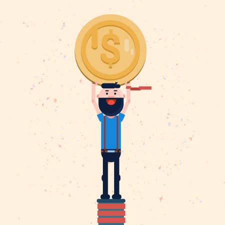 account executives: Successful Business Man Hold Coin Finance Growth Flat Vector Illustration