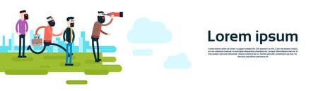 coworker banner: Business Man Group Look Binoculars Flat Vector Illustration