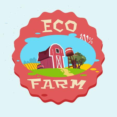 farmland: Farmland, Organic Eco Farm Logo Flat Vector Illustration