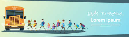 schoolchildren: Schoolchildren Group Go Bus Back To School Education Banner Flat Vector Illustration