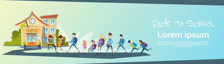 go back: Schoolchildren Group Go Back To School Education Banner Flat Vector Illustration
