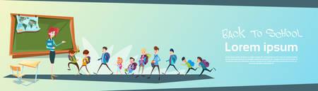schoolchildren: Schoolchildren Group With Teacher Classroom Back To School Education Banner Flat Vector Illustration