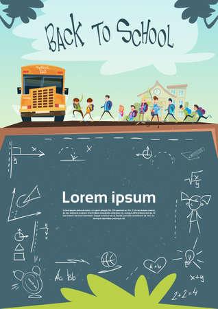 schoolchildren: Schoolchildren Group Go To Schoolbus Class Board Banner Flat Vector Illustration