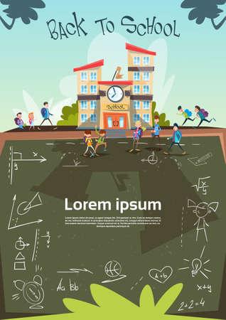 schoolchildren: Schoolchildren Group Go To School Class Board Banner Flat Vector Illustration