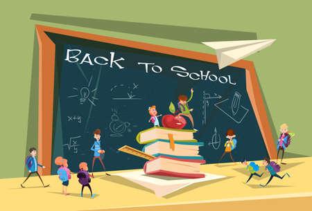 schoolchildren: Schoolchildren Group Over Class Board Back To School Banner Flat Vector Illustration