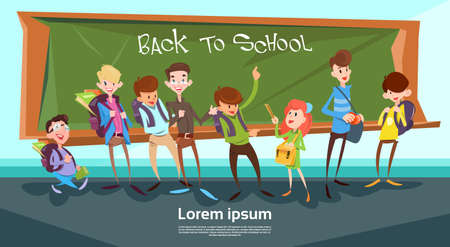 Schoolchildren Group Over Class Board Back To School Banner Flat Vector Illustration
