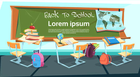 empty classroom: Empty Classroom Desk With Books Bag Back To School Education Banner Flat Vector Illustration