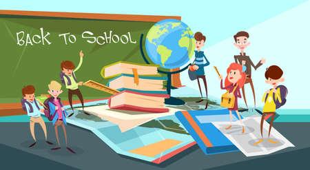 Schoolchildren Group Classroom Back To School Banner Flat Vector Illustration  イラスト・ベクター素材