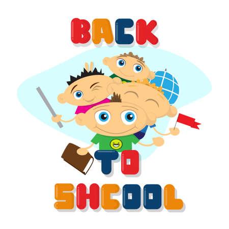 leccion: Niños de dibujos animados Volver a la ilustración de Vector plano de Banner de educación escolar Vectores