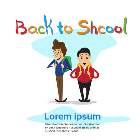 schoolboys: Schoolboys Back To School Education Banner Flat Vector Illustration Illustration