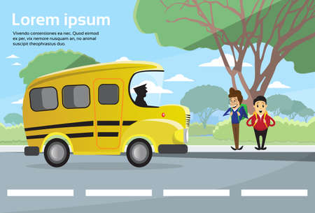 schoolchildren: Schoolchildren Group Wait Bus School Education Banner Flat Vector Illustration