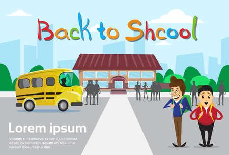 schoolbus: Schoolboys Over Schoolbus School Building Background Education Banner Flat Vector Illustration Illustration