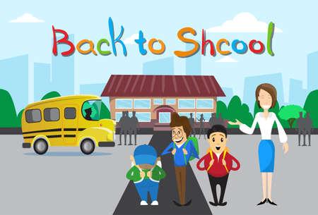 schoolchildren: Schoolchildren Teacher Over Schoolbus School Building Background Education Banner Flat Vector Illustration