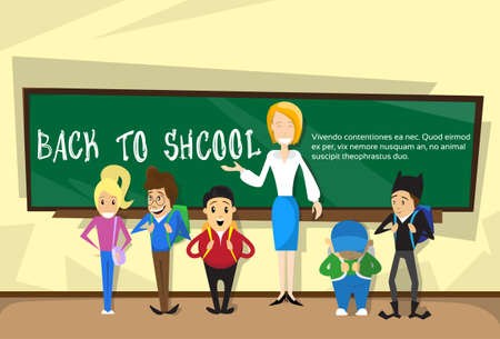 pupil's: Teacher With Pupils In Class Back To School Education Banner Flat Vector Illustration