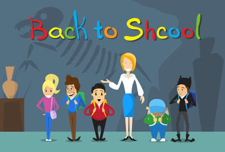 pupil's: Teacher With Pupils Back To School Education Banner Flat Vector Illustration Illustration