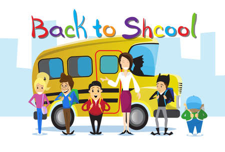 schoolbus: Teacher With Pupils Over Yellow Schoolbus Back To School Education Banner Flat Vector Illustration