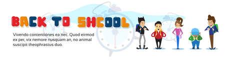 Schoolboys Back To School Education Banner Flat Vector Illustration Illustration