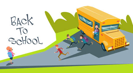 schoolchildren: Schoolchildren Group Run Back To School From Bus Flat Vector Illustration
