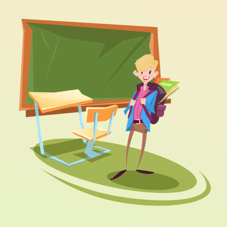 Schoolboy With Backpack In Classroom School Desk Flat Vector Illustration