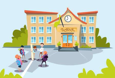 Schoolkinderen Group School Gebouw exterieur Flat Vector Illustration
